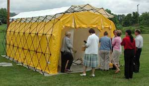Image of the Sussex County Domestic Preparedness Task Force inspecting one of the county decontamination tents.