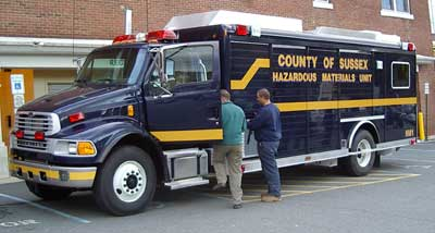 Image of new county HAZ-MAT truck on the day of its delivery