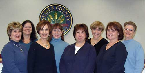 Public Health Nursing Staff.  From left: Marty, Karen, Michele, Ellen, Sue, Betty, Helen, Cheryl