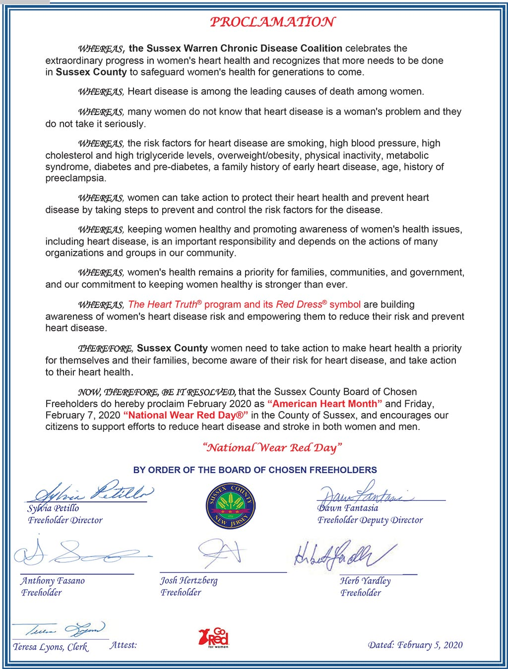 Wear Red Day Proclamation