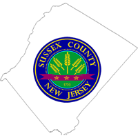 Sussex County Seal on outline of county map