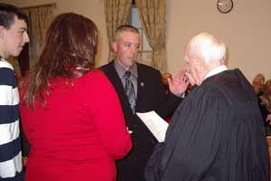 Image of Parker Space is sworn in as Freeholder