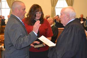 Parker Space is sworn in as Freeholder Deputy Director by Judge Frederic G. Weber.