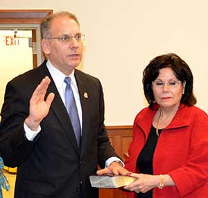 Freeholder Deputy Director Dennis Mudrick is sworn in