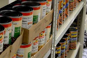 Food Pantry with full shelves