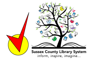 Image of Sussex County Library System logo with a checkmark in the lower left corner