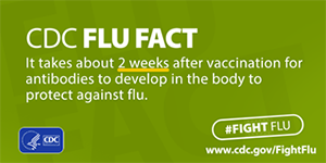 #Fight Flu: It takes about two weeks after vaccination for antibodies to develop.