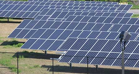 Photo of the 201 Wheatsworth Road solar array on a sunny day.