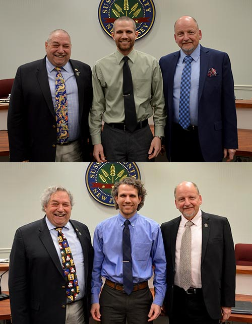 Freeholders Lazzaro, Rose and Yardley before and after having their heads shaved