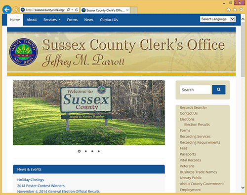 screenshot from new County Clerk website