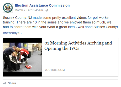 EAC Facebook post praising Sussex County's training videos