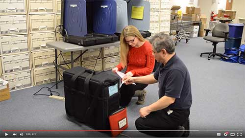 Screen shot from a Sussex County training video on voting equipment