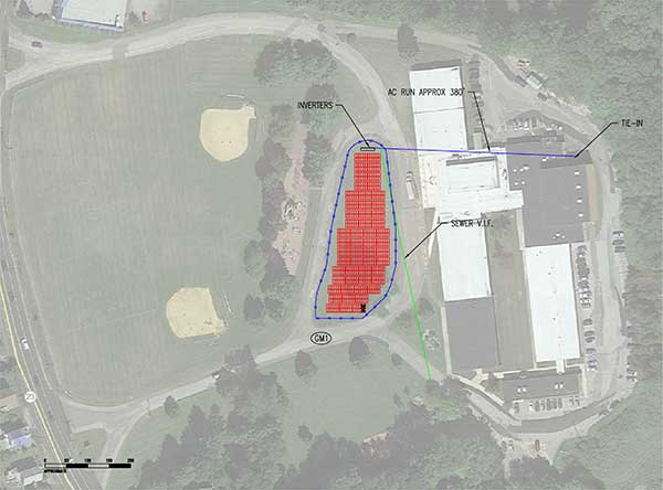 Drawing of proposed solar array at Hardyston Elementary School