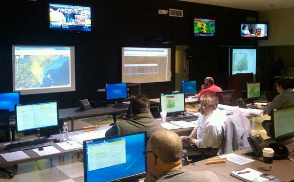 Image of Sussex County Emergency Operating Center during Hurricane Sandy