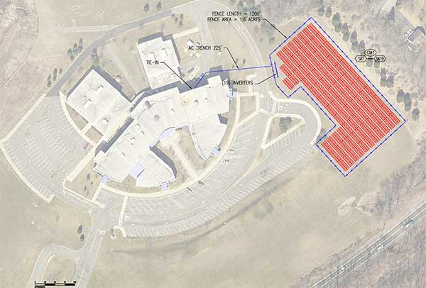 Drawing of proposed solar array at Sparta Middle School