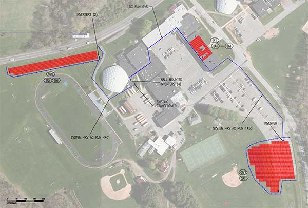 Drawing of proposed solar array at Sussex County Technical School