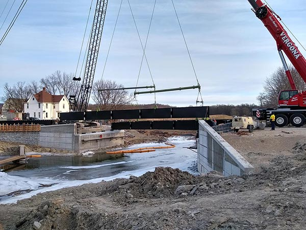 Placing steel beams, January 17th, 2019