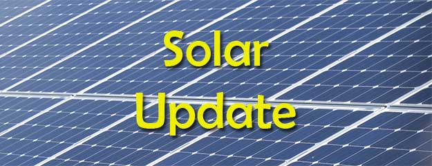 Image of solar panels with the text Solar Update