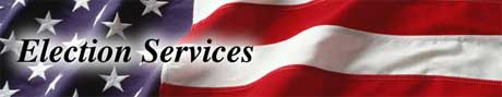 Election Services text on American Flag Background