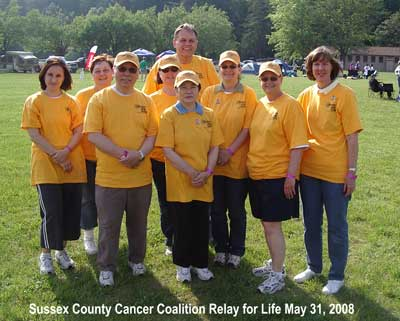 Image of the Sussex County Cancer Coalition 2008 Relay for Life Team